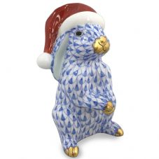 Herend Porcelain Fishnet Figurine of a Christmas Bunny